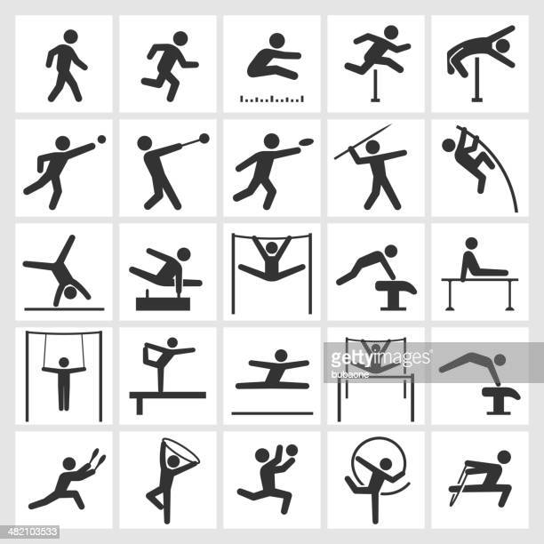 athletics artistic and athletic gymnastics black & white icon set - gymnastics stock illustrations, clip art, cartoons, & icons