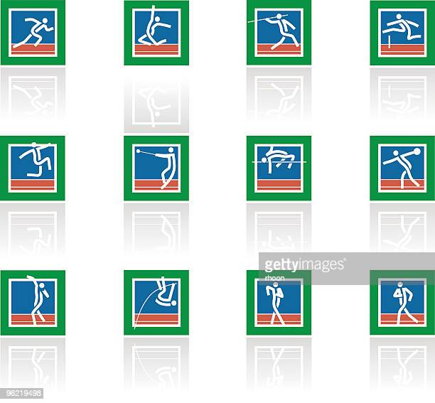 athletics icon set - racewalking stock illustrations, clip art, cartoons, & icons