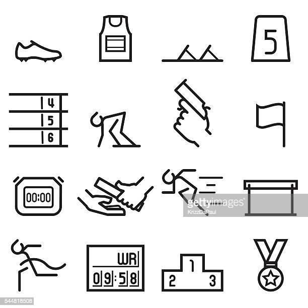 athletics icons - athlete stock illustrations