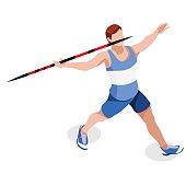 Athletics Javelin  Sports 3D Vector Illustration