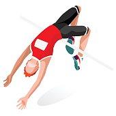 Athletics Jump  Sports Isometric 3D Vector Illustration