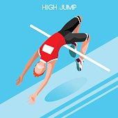 Athletics Jump Summer Games Isometric 3D Vector Illustratio