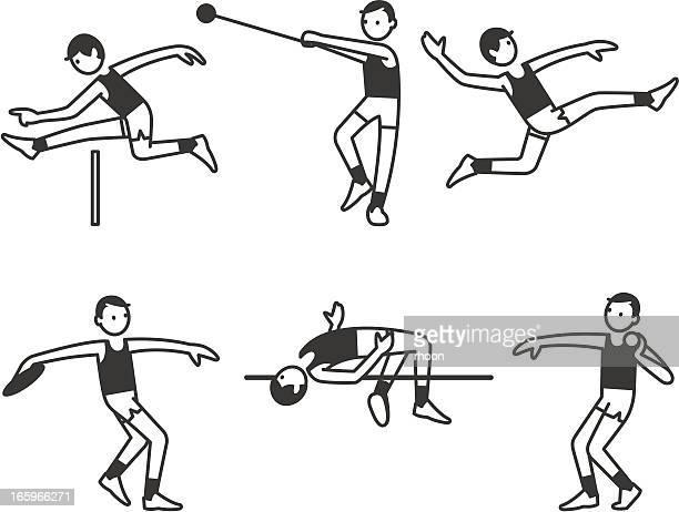 athletics men - discus stock illustrations, clip art, cartoons, & icons