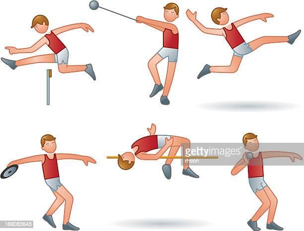 athletics men - high jump stock illustrations