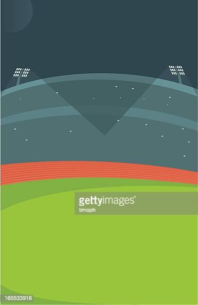 ilustraciones, imágenes clip art, dibujos animados e iconos de stock de estadio de atletismo por la noche - pista de atletismo