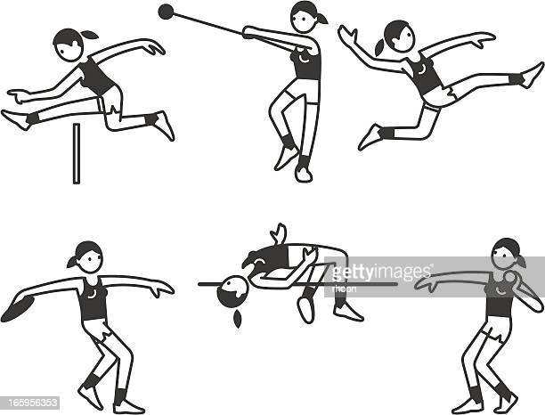 athletics women - discus stock illustrations, clip art, cartoons, & icons