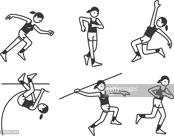 athletics women - racewalking stock illustrations, clip art, cartoons, & icons
