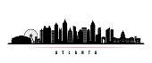Atlanta city skyline horizontal banner. Black and white silhouette of Atlanta city, USA. Vector template for your design.