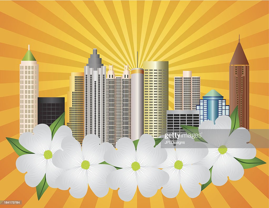 Atlanta Georgia City Skyline with Dogwood Vector Illustration