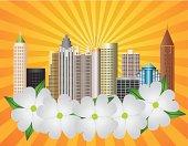 Atlanta Georgia City Skyline with Dogwood Vector Illustration