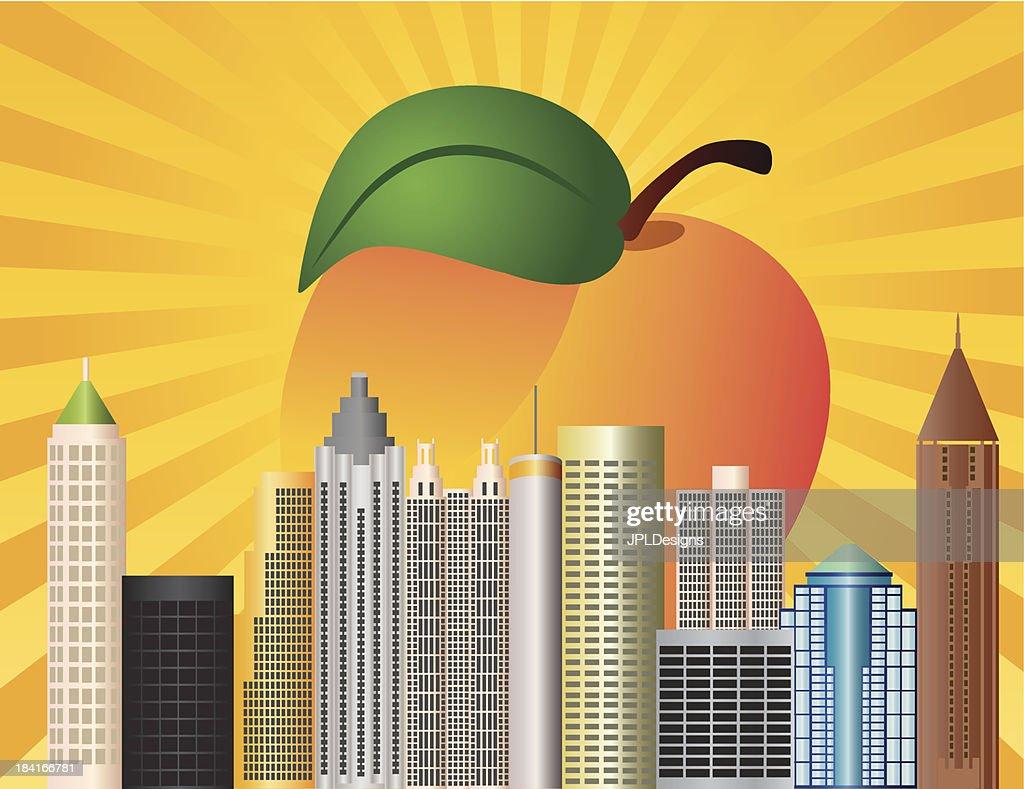 Atlanta Georgia City Skyline  with Peach Vector Illustration
