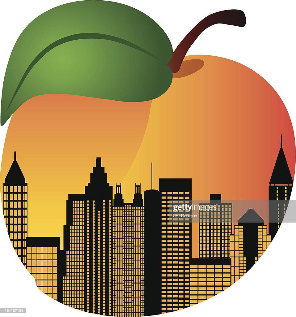 Atlanta Georgia Night Skyline Inside Peach Vector Illustration