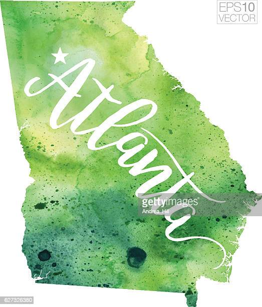 atlanta, georgia usa vector watercolor map - atlanta stock illustrations, clip art, cartoons, & icons