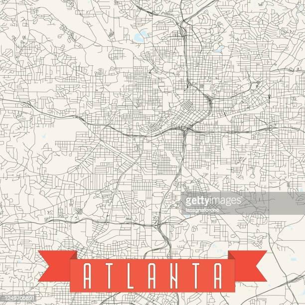 atlanta, georgia vector map - central park atlanta stock illustrations