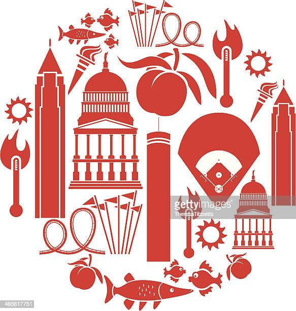 atlanta icon set - atlanta stock illustrations, clip art, cartoons, & icons
