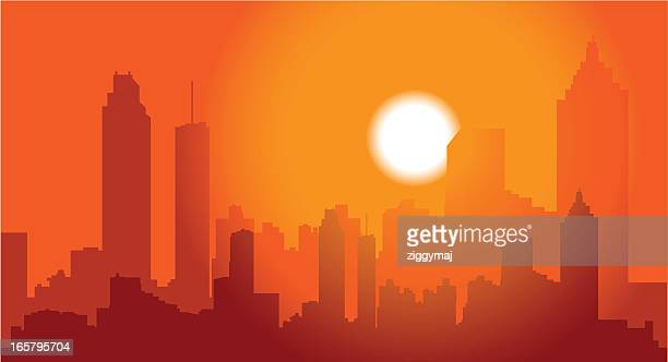 atlanta skyline at dusk - atlanta stock illustrations, clip art, cartoons, & icons