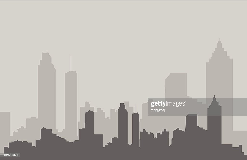 Atlanta Skyline in Gray : stock illustration
