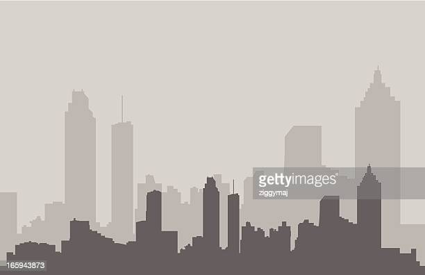atlanta skyline in gray - atlanta stock illustrations, clip art, cartoons, & icons