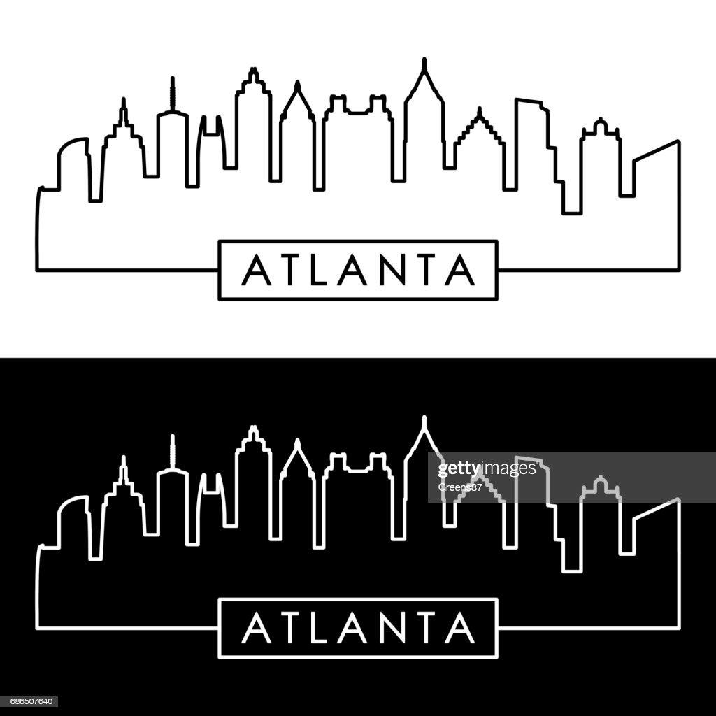 Atlanta skyline. Linear style. Editable vector file.