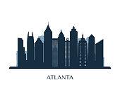 Atlanta skyline, monochrome silhouette. Vector illustration.