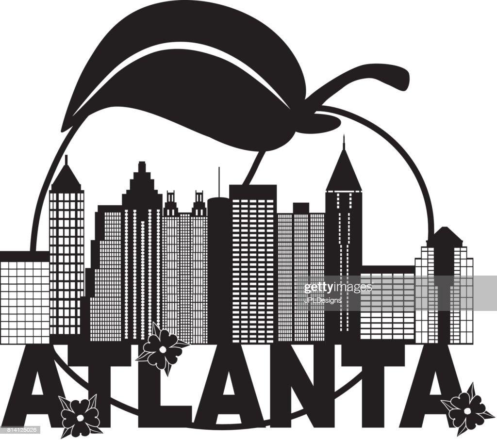 Atlanta Skyline Peach Dogwood Black White Text Illustration