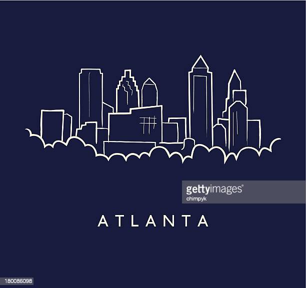 atlanta skyline sketch - atlanta stock illustrations, clip art, cartoons, & icons