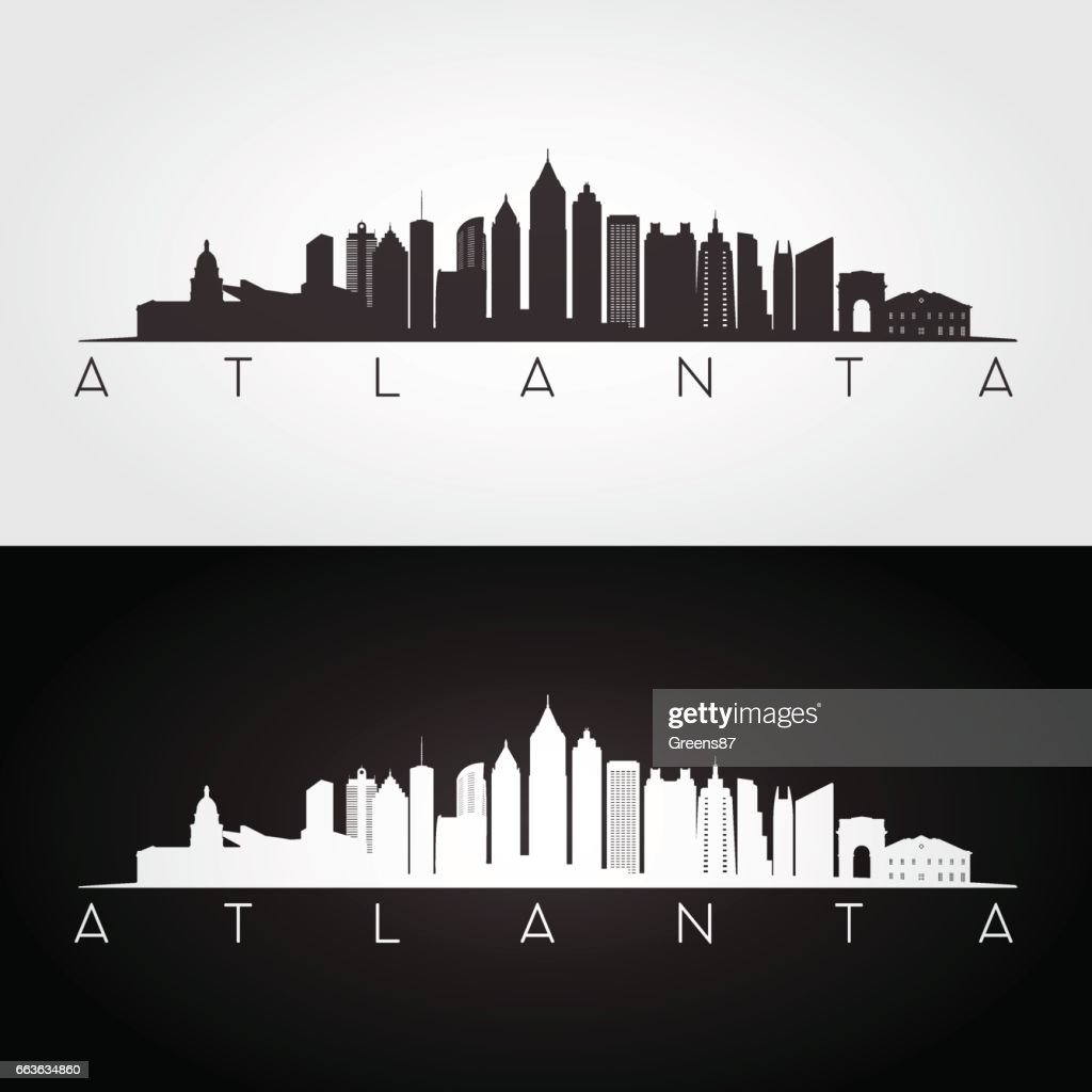 Atlanta USA skyline and landmarks silhouette