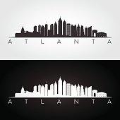 Atlanta USA skyline and landmarks silhouette