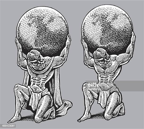 atlas holding weight of the world - mythology stock illustrations