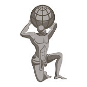 Atlas monument, greek mythology character. Titan condemned to hold sky