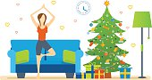 Atmosphere of New Year, woman restores strength and emotional balance.