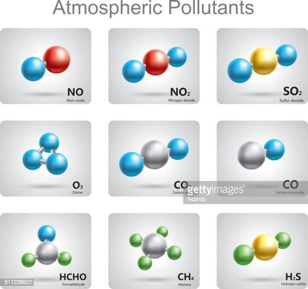 nationale emissionshöchstgrenzen für bestimmte luftschadstoffe - molekül stock-grafiken, -clipart, -cartoons und -symbole