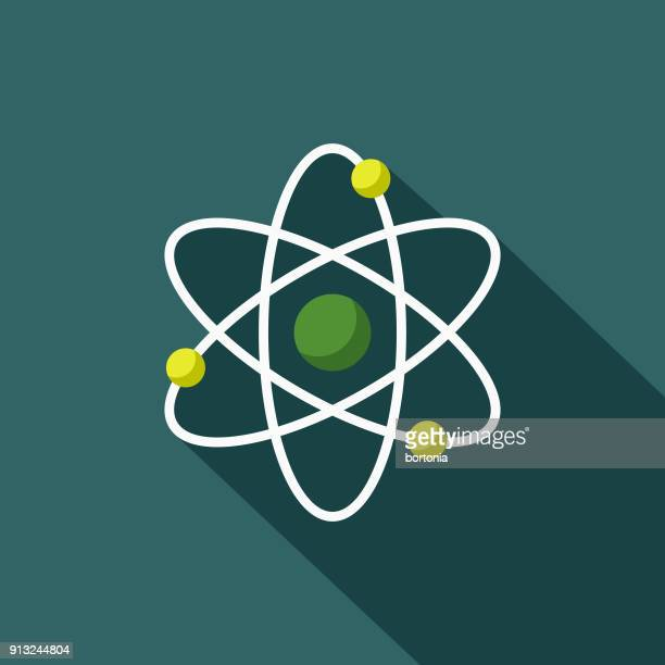 atom flat design environmental icon - nuclear energy stock illustrations