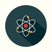 Atom Flat Design Science & Technology Icon with Side Shadow