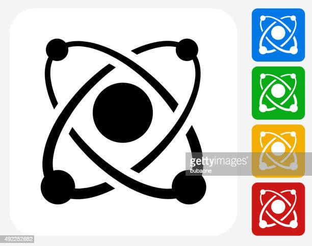 atom icon flat graphic design - nucleus stock illustrations, clip art, cartoons, & icons