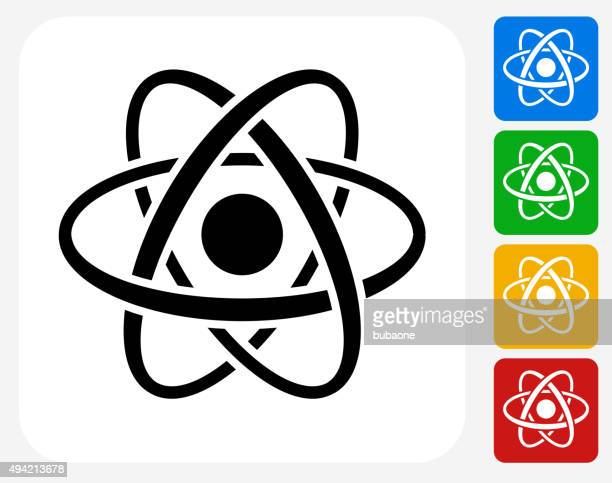 atom icon flat graphic design - radioactive contamination stock illustrations