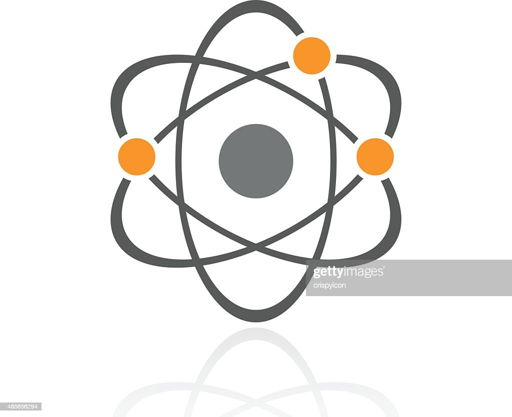 Atom icon on a white background.