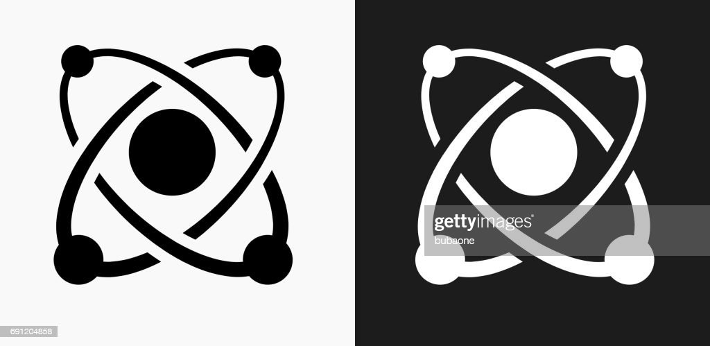 Atom Icon on Black and White Vector Backgrounds