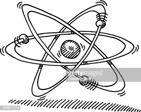Atom Molecular Structure Symbol Drawing stock illustration