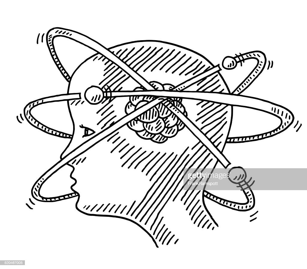 Atom-Molekül Science Head Konzept-Abbildung : Stock-Illustration