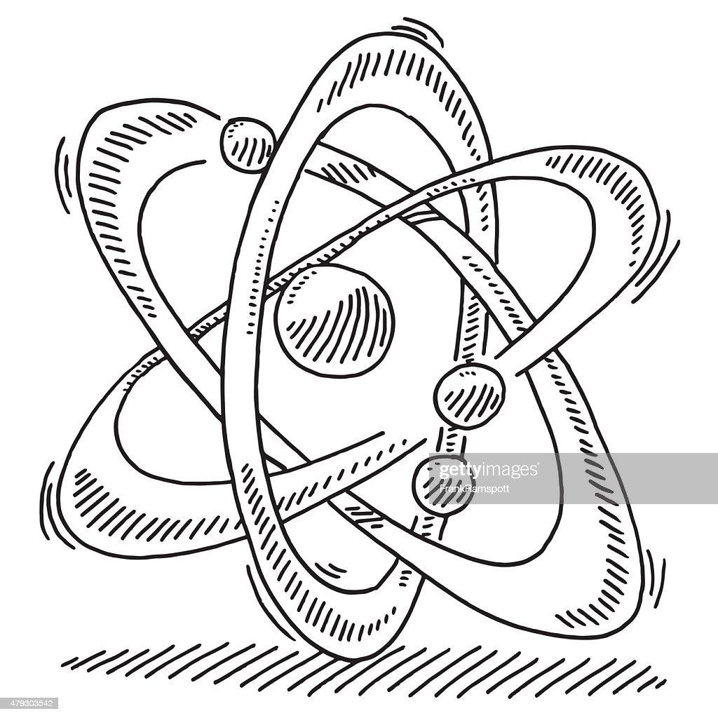 atom science drawing molecule symbol illustrations vector atomic proton cartoons