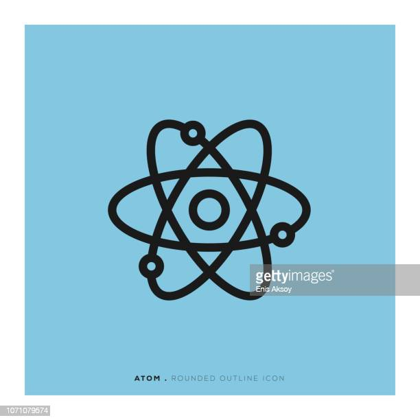 atom rounded line icon - nucleus stock illustrations, clip art, cartoons, & icons