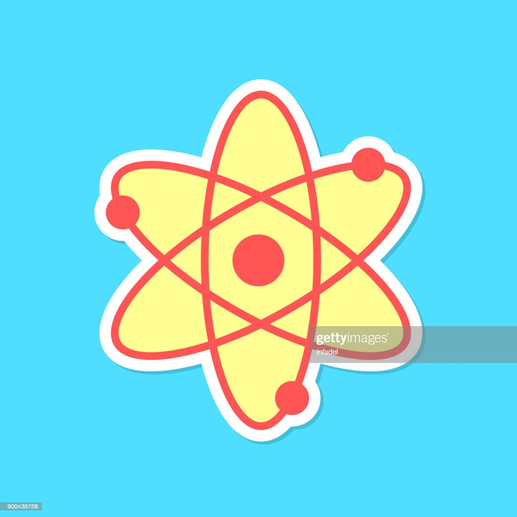 atom sticker with shadow isolated on blue background