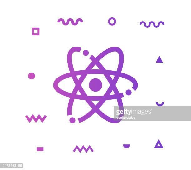 atom vector icon line illustration - uranium stock illustrations