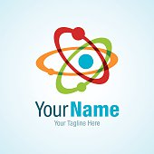 Atom with colorful circles science graphic design logo icon