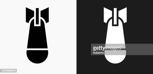 Atomic Bomb Icon on Black and White Vector Backgrounds