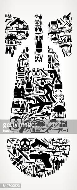atomic bomb war and modern warfare vector icon pattern - nuclear fallout stock illustrations