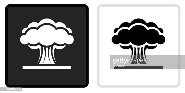 illustrazioni stock, clip art, cartoni animati e icone di tendenza di icona esplosione atomica sul pulsante nero con rollover bianco - bomba nuclear
