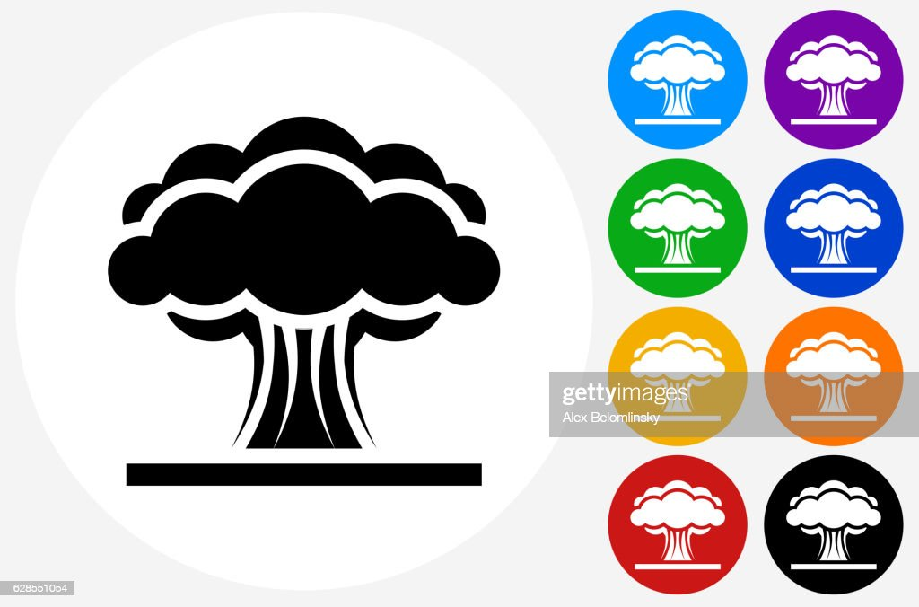 Atomic Explosion Icon on Flat Color Circle Buttons