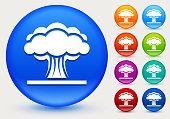Atomic Explosion Icon on Shiny Color Circle Buttons